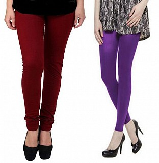 Cotton Brown and Purple Color Leggings Combo @ Rs407.00