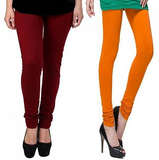 Cotton Brown and Dark Orange Color Leggings Combo @ Rs407.00