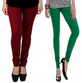 Cotton Brown and Dark Green Color Leggings Combo@ Rs.407.00