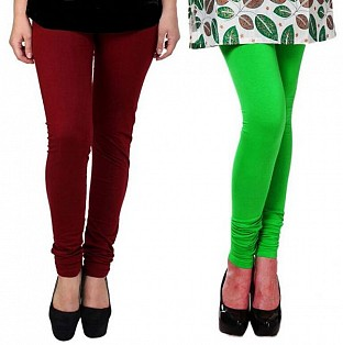 Cotton Brown and Light Green Color Leggings Combo @ Rs407.00