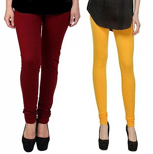 Cotton Brown and Yellow Color Leggings Combo @ Rs407.00