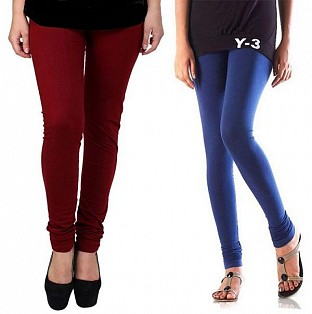 Cotton Brown and Blue Color Leggings Combo@ Rs.407.00
