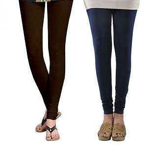 Cotton Dark Brown and Dark Blue Color Leggings Combo@ Rs.407.00