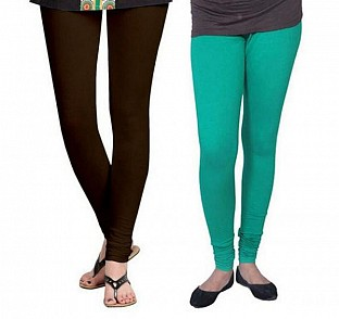 Cotton Dark Brown and Rama Green Color Leggings Combo@ Rs.407.00