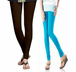 Cotton Dark Brown and Sky Blue Color Leggings Combo@ Rs.407.00