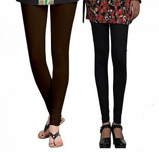 Cotton Dark Brown and Black Color Leggings Combo @ Rs407.00