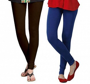 Cotton Dark Brown and Royal Blue Color Leggings Combo @ Rs407.00