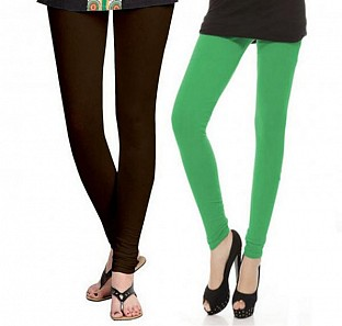 Cotton Dark Brown and Green Color Leggings Combo @ Rs407.00