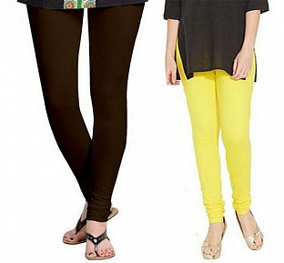 Cotton Dark Brown and Light Yellow Color Leggings Combo @ Rs407.00