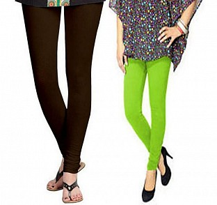 Cotton Dark Brown and Parrot Green Color Leggings Combo @ Rs407.00