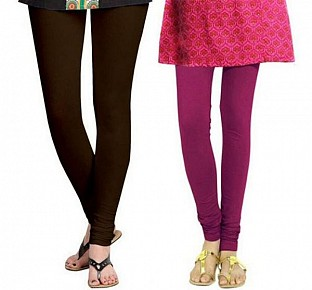 Cotton Dark Brown and Dark Pink Color Leggings Combo@ Rs.407.00