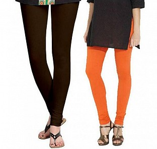 Cotton Dark Brown and Orange Color Leggings Combo@ Rs.407.00