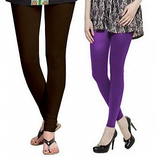 Cotton Dark Brown and Purple Color Leggings Combo @ Rs407.00