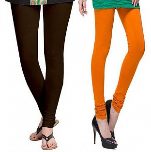 Cotton Dark Brown and Dark Orange Color Leggings Combo @ Rs407.00