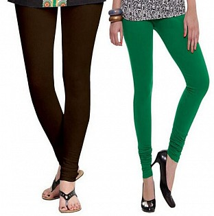 Cotton Dark Brown and Drak Green Color Leggings Combo @ Rs407.00