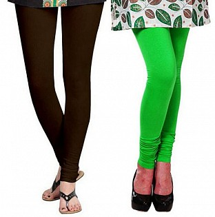 Cotton Dark Brown and Light Green Color Leggings Combo @ Rs407.00