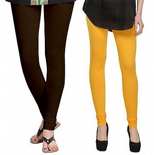 Cotton Dark Brown and Yellow Color Leggings Combo @ Rs407.00