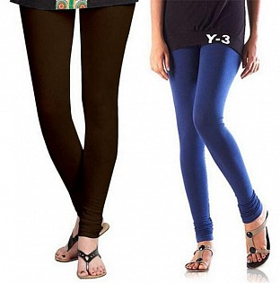 Cotton Dark Brown and Blue Color Leggings Combo@ Rs.407.00
