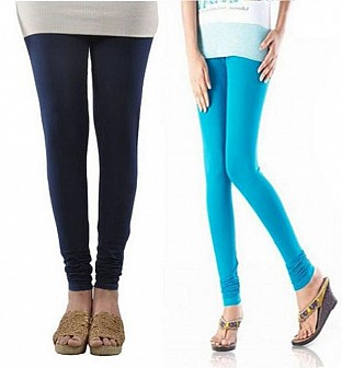 Cotton Dark Blue and Sky Blue Color Leggings Combo @ Rs407.00