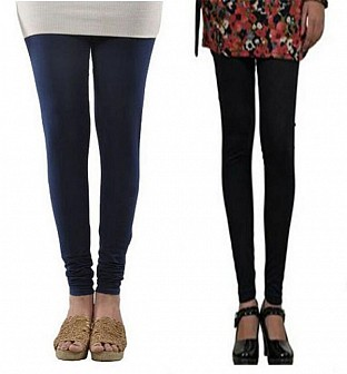 Cotton Dark Blue and Black Color Leggings Combo@ Rs.407.00