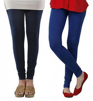 Cotton Dark Blue and Royal Blue Color Leggings Combo @ Rs407.00