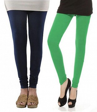 Cotton Dark Blue and Green Color Leggings Combo @ Rs407.00