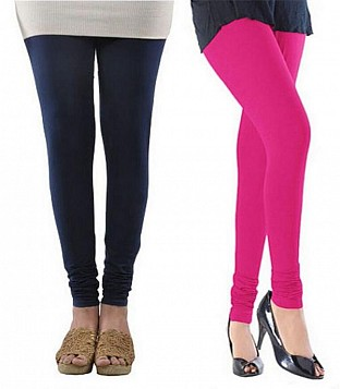 Cotton Dark Blue and Pink Color Leggings Combo@ Rs.407.00