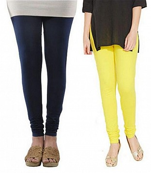 Cotton Dark Blue and Light Yellow Color Leggings Combo @ Rs407.00