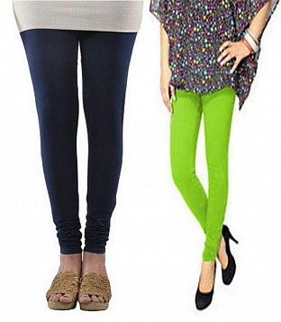 Cotton Dark Blue and Parrot Green Color Leggings Combo @ Rs407.00
