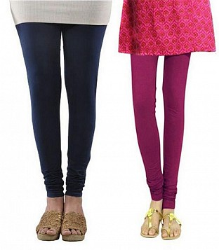 Cotton Dark Blue and Dark Pink Color Leggings Combo @ Rs407.00