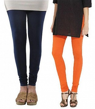 Cotton Dark Blue and Orange Color Leggings Combo@ Rs.407.00