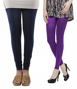 Cotton Dark Blue and Purple Color Leggings Combo@ Rs.407.00