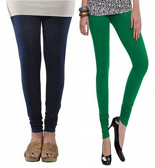Cotton Dark Blue and Dark Green Color Leggings Combo @ Rs407.00