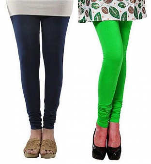 Cotton Dark Blue and Light Green Color Leggings Combo @ Rs407.00