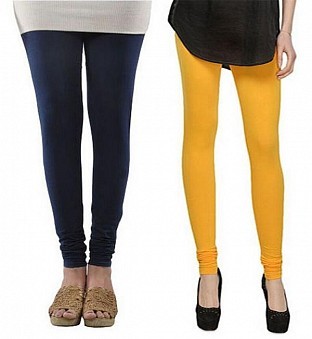 Cotton Dark Blue and Yellow Color Leggings Combo @ Rs407.00