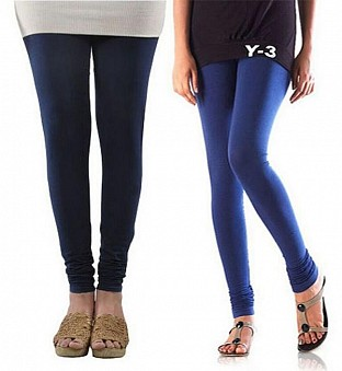 Cotton Dark Blue and Blue Color Leggings Combo @ Rs407.00