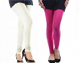 Cotton Off White and Pink Color Leggings Combo @ Rs407.00