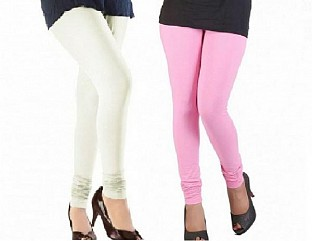 Cotton Off White and Light Pink Color Leggings Combo @ Rs407.00