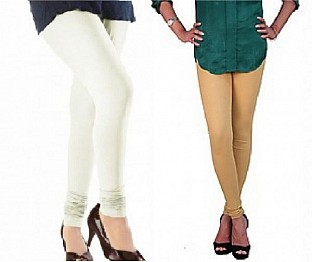 Cotton Off White and Biege  Color Leggings Combo @ Rs407.00