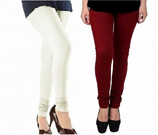 Cotton Off White and Brown Color Leggings Combo Buy Rs.407.00