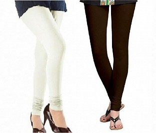 Cotton Off White and Dark Brown Color Leggings Combo @ Rs407.00