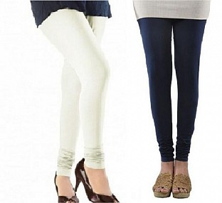 Cotton Off White and Dark Blue Color Leggings Combo @ Rs407.00