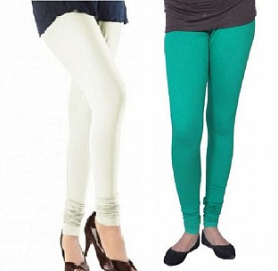 Cotton Off White and Rama Green Color Leggings Combo@ Rs.407.00