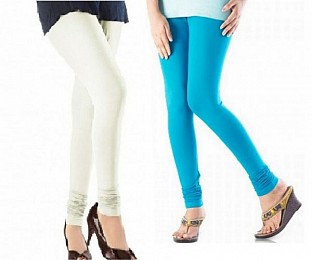 Cotton Off White and Sky Blue Color Leggings Combo@ Rs.407.00