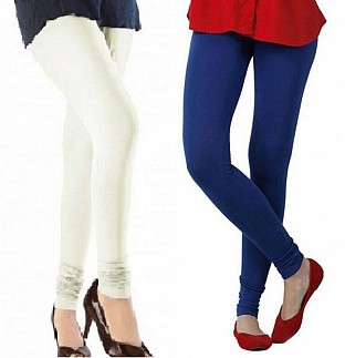 Cotton Off White and Royal Blue Color Leggings Combo@ Rs.407.00