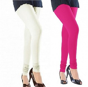 Cotton Off White and Pink Color Leggings Combo@ Rs.407.00