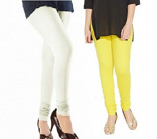 Cotton Off White and Light Yellow Color Leggings Combo @ Rs407.00