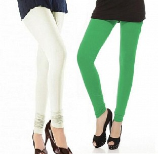 Cotton Off White and Green Color Leggings Combo @ Rs407.00