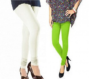 Cotton Off White and Parrot Green Color Leggings Combo @ Rs407.00