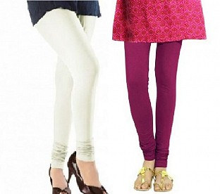 Cotton Off White and Dark Pink Color Leggings Combo @ Rs407.00